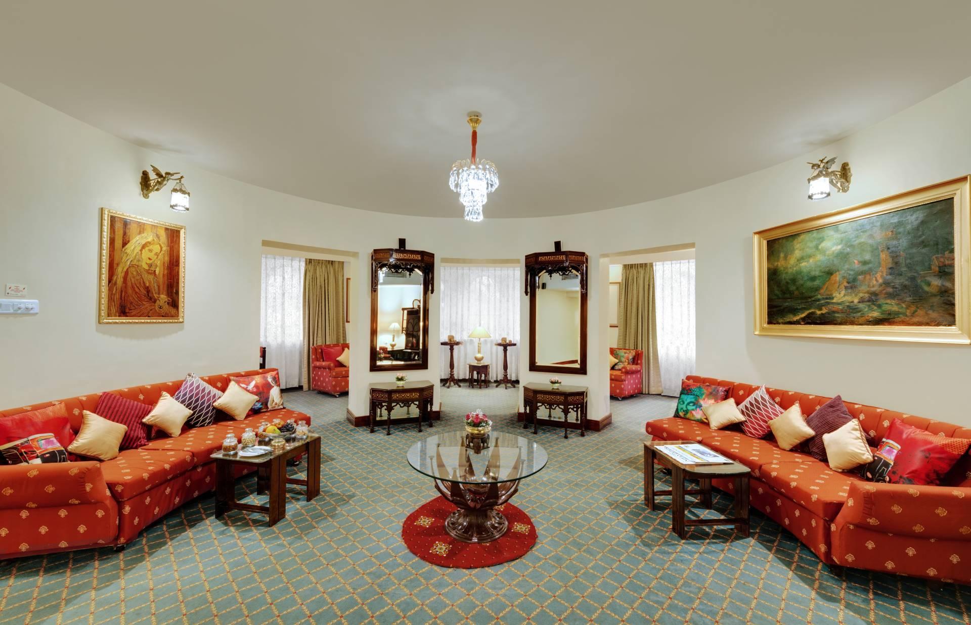 chennai pallava suite ambassador pallava reception area 2 banner - The Ambassador | Heritage Hotels in Mumbai, Aurangabad, Chennai - Our Rooms