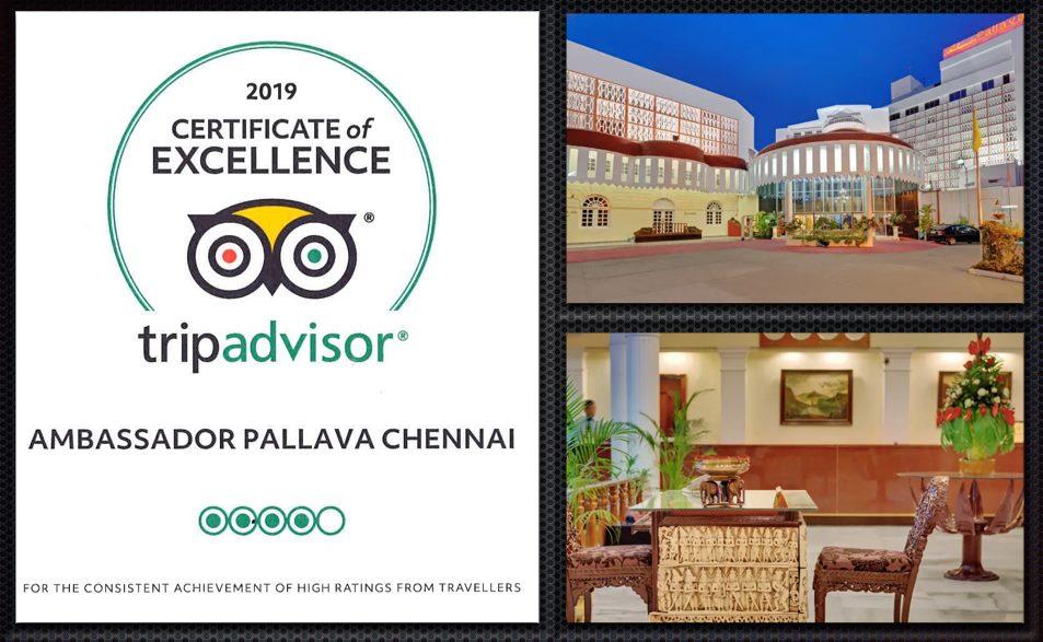 "Ambassador Pallava Tripadvisor Certificate 1 - The Ambassador   Heritage Hotels in Mumbai, Aurangabad, Chennai - TripAdvisor Awards Ambassador Pallava, Chennai With ""Certificate of Excellence 2019"""
